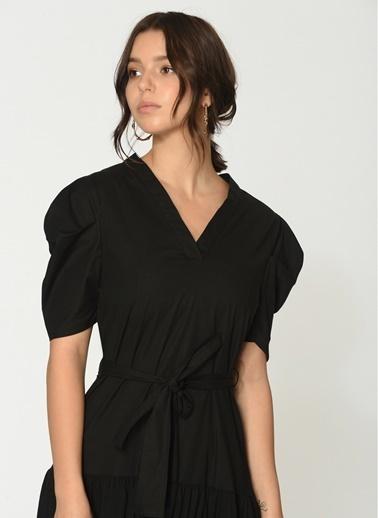 Loves You Balon Kol Büzgülü Fırfırlı Elbise Siyah